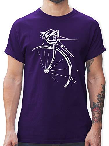 Radsport - Fahrrad Vintage Effekt - M - Lila - Tshirt Herren Fahrrad - L190 - Tshirt Herren und Männer T-Shirts