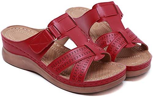Sandalias de verano para mujer, color Rojo, talla 39 EU Schmal