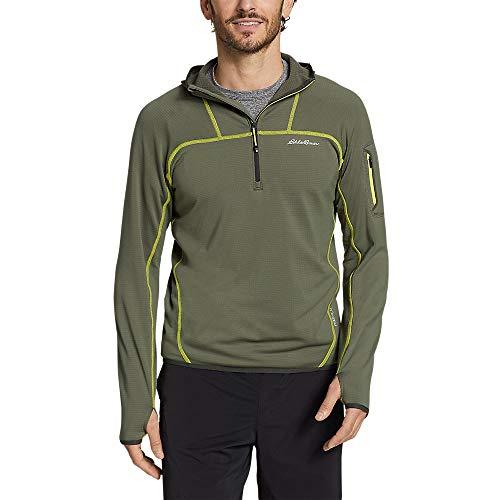 Eddie Bauer Men's High Route Grid Fleece 1/2-Zip Hoodie Sprig Large