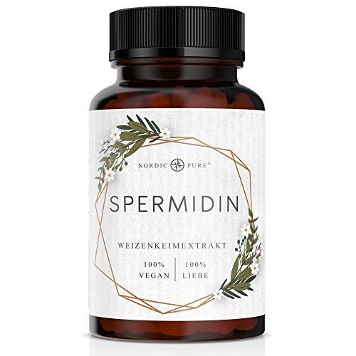 Spermidin Kapseln hochdosiert von Nordic Pure | Natürliches Weizenkeimextrakt mit hohem Spermidingehalt | 90 vegane Spermidine Kapseln