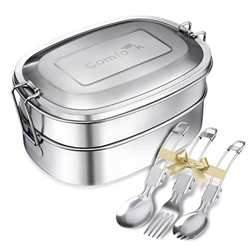 Comfook Brotdose Edelstahl, Lunchbox Edelstahl mit Fächern Trennwand, 1000ml, BPA & plastikfreie, Umweltfreundliche Lunchbox & Bento-Box für Kinder & Erwachsen