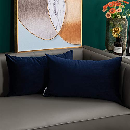 softpoint Velvet Cushion Covers Navy Blue 30cm x 50cm Soft Decorative Throw Pillowcases 12 x 20inch for Couch, Bed, Sofa, Pack of 2(navy blue,12x20)…