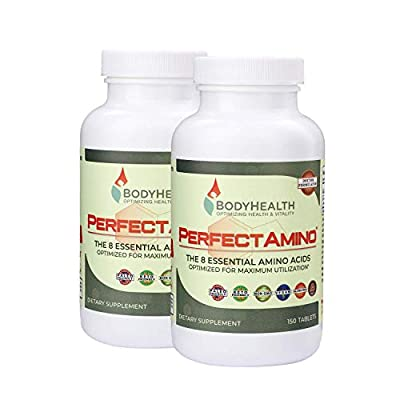 BodyHealth PerfectAmino Tablets, (2-Pack) All 8 Essential Amino Acids with BCAAs + Lysine, Phenylalanine, Threonine, Methionine, Tryptophan, Supplement for Muscle Mass Production, Recovery & Strength