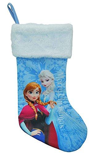 Disney Frozen Merry Christmas Stocking Blue Satin with White Fur