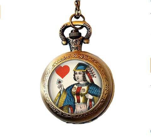 Queen of Hearts Spielkarten-Halskette – Vintage Spielkarten-Schmuck – Queen of Hearts Taschenuhr Halskette – Kartenspieler-Geschenk – Gambling