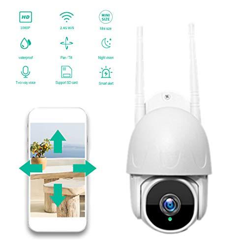 W.zz Cámaras de vigilancia de 1080p HD Píxeles Dispositivo Inteligente, IP66 Impermeable WiFi Vigilancia doméstica inalámbrica Cámara pequeña Bola Cachine + Tarjeta de Memoria 128GB
