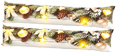 infactory Zugluftkissen: 2er-Set Zugluftstopper-Deko-Kissen, Weihnachts-Motiv, 7 LEDs, 90x20 cm (Türwindstopper)