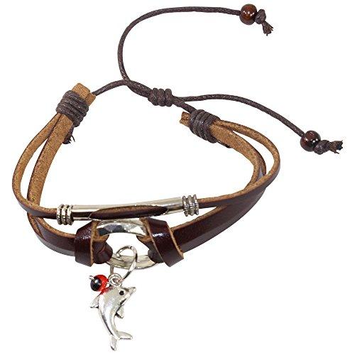 Peruanisches Armband für Frauen – Huayruro Samen, Lederband, Delfin-Charm – Umweltfreundlicher Schmuck von EB