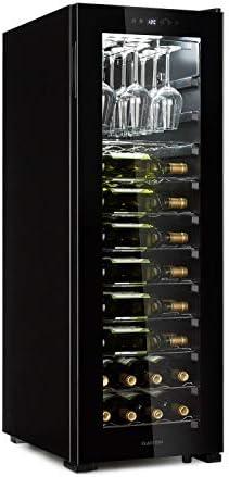 Klarstein Bellevin 62 - Nevera para vinos, Zona única de refrigeración, 173 litros de capacidad, Puerta panorámica, Cristal doble, Portacopas ChilledGlas, PureAmbience, Clase G, Negro
