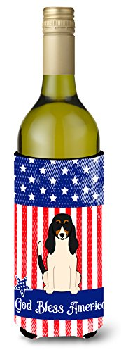 Caroline tesoros del bb3039literk patriótica Estados Unidos Swiss Hound vino botella aislante beverge Hugger, para botella de vino, multicolor