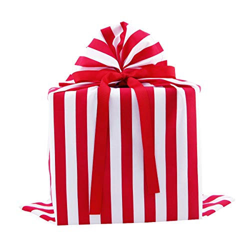 Red and White Striped Reusable Fabric Gift Bag for Birthday, Father's Day or Any Occasion (Large 20.5 Inches Wide by 27 Inches High)