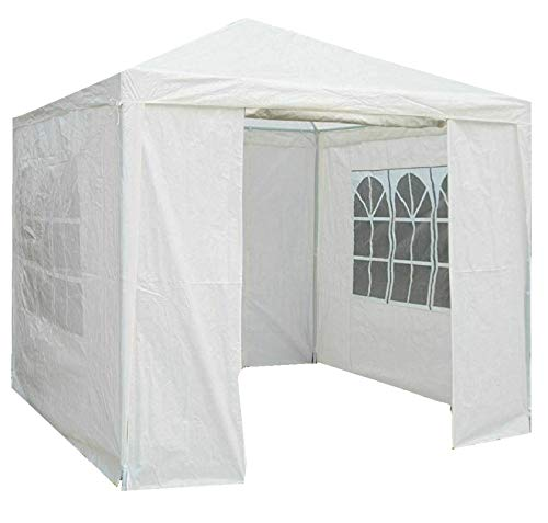 Gr8 Garden Gazebo with Sides Outdoor Waterproof Beach Party Festival Camping Tent Canopy Wedding Marquee Awning Shade 3mx3mx2.45m[White]