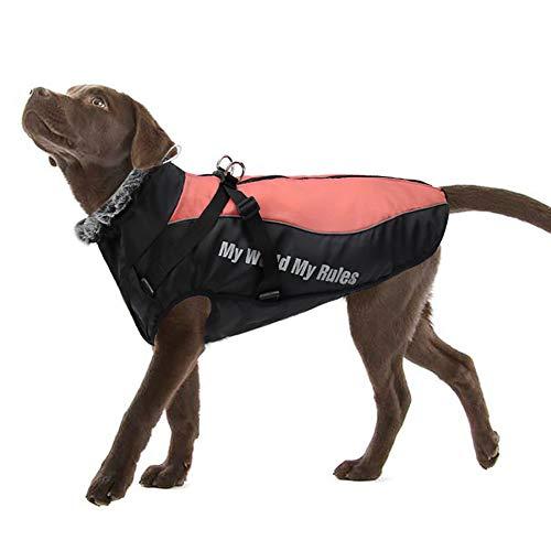 FEimaX Cappotto Invernale Impermeabile per Cani, Giacca Caldo di Peluche Antivento Cucciolo Gilet Riflettente Abbigliamento Invernali per Cane di Taglia Piccolo Media e Grande (XL, Rosso)