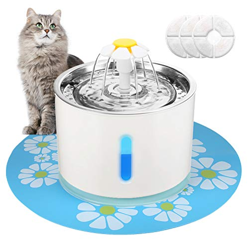 Supsoo Pet Water Fountain Stainless Steel Cat Water Fountain Water Dispenser Intelligent Power Off with 3 Replacement Filters & 1 Silicone Mat Ultra Quiet for Cats/Dogs Multiple Pets