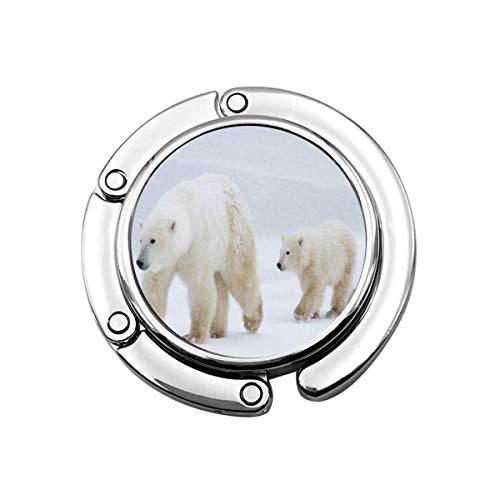 Gancho para Monedero Sea Ice Polar Bear Mom Cub Monedero Plegable Escritorio...