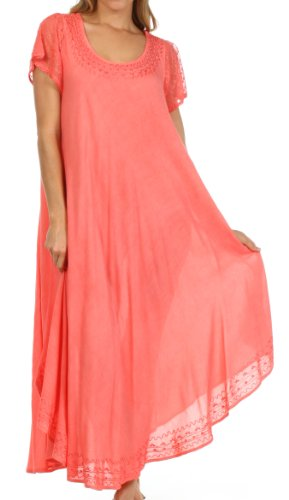Sakkas 00931 Everyday Essentials Cap Sleeve Kaftan Kleid/Cover Up - Coral - eine Größe