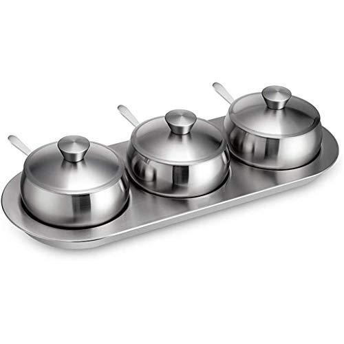 DUDDP Botes para Especias Cocina Spice Rack con 3 tarros, Acero Inoxidable condimento Box Set con cucharas de Servir, 3 Piezas de condimentos Pot, Especias y condimentos Set for Delicious Vida