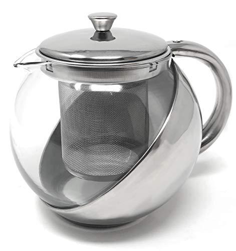 MGE Theepot met filter - theepot van glas met uitneembare infuser - theepot voor losse thee - glas en roestvrij staal - 750 ml