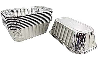 Pactogo Aluminum Disposable Rectangle Loaf Pans For Serving, Baking, Cooking, Roasting, Broiling, Cakes Made in USA