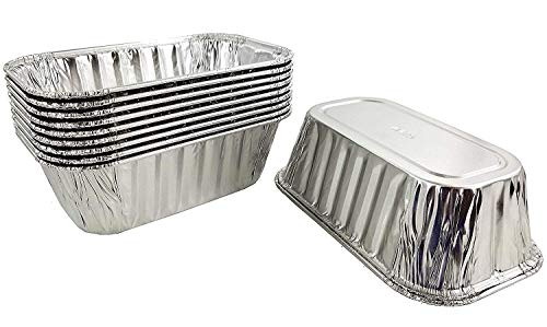 Pactogo 1 lb. Disposable Aluminum Foil Small Mini Loaf Bread Baking Pan 6.1' x 3.75' x 2' - Made in USA (Pack of 10)