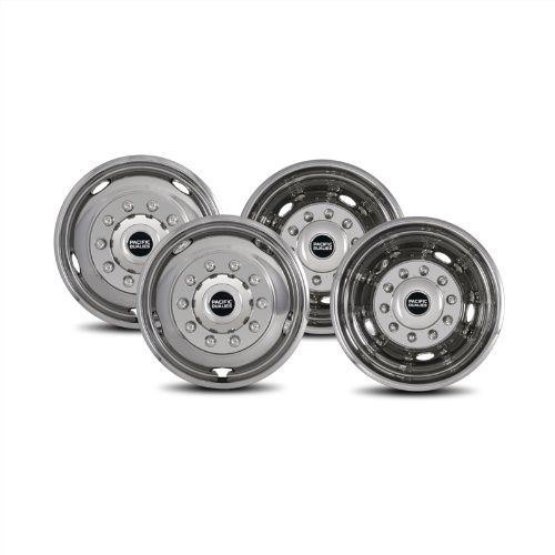 Pacific Dualies 44-1950 Polished 19.5 Inch 10 Lug Stainless Steel Wheel Simulator Kit for 2008-2019 Dodge Ram 4500/5500 Truck