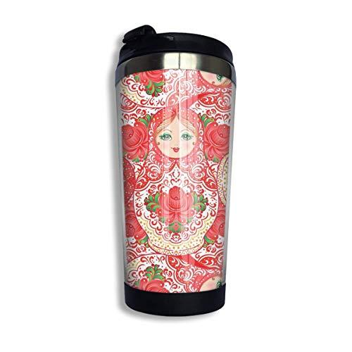 Tapisserie Babuschka Matroschka Traditionelle russische Holznistpuppe Blumen Volkskaffee Reisebecher Auto Becher Tasse Eistee oder Wasserflasche Isolierte Thermotasse Edelstahl