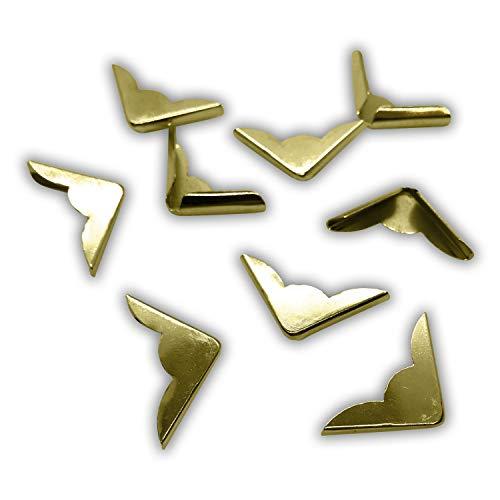 80 Buchecken / Buchbeschläge aus Metall (gold / messing, 22 x 22 x 4,5 mm)