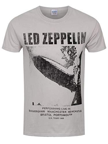 Led Zeppelin Ledzeppelin_UK Tour '69 Lz1_Men_Grey_TS:2XL Camiseta, Negro (Black Black), XX-Large para Hombre