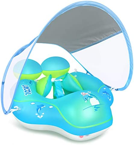 LAYCOL Baby Swimming Pool Float with Removable UPF 50 UV Sun Protection Canopy Toddler Inflatable product image
