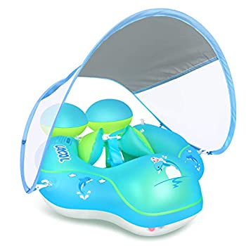 LAYCOL Baby Swimming Pool Float with Removable UPF 50+ UV Sun Protection Canopy,Toddler Inflatable Pool Float for Age of 3-36 Months,Swimming Trainer  Blue L