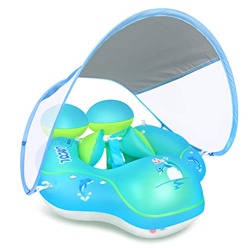 LAYCOL Baby Swimming Pool Float with Removable UPF 50 UV Sun Protection CanopyToddler Inflatable Pool Float for Age of 336 MonthsSwimming Trainer Blue L