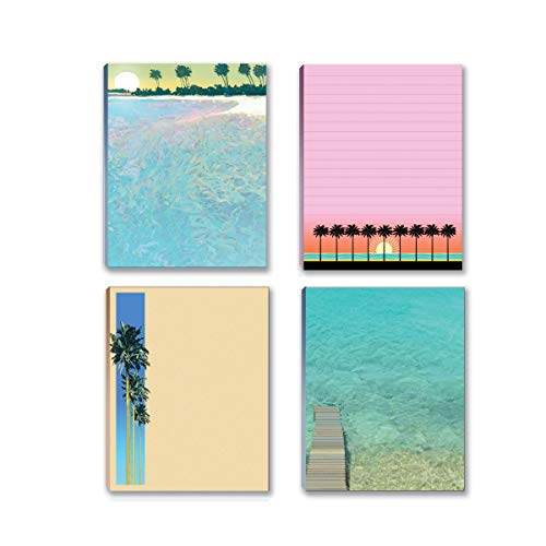 Beach and Tropical Notepads- 4 Assorted Notepads with Beach and Tropical Themes (4 Assorted)