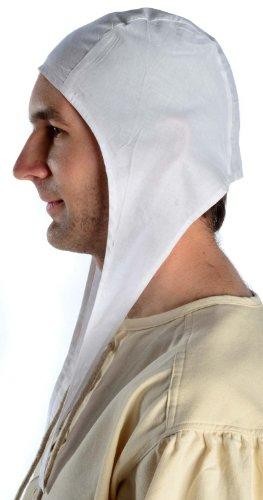 HEMAD Men's Medieval Coif – Pure Cotton – L White