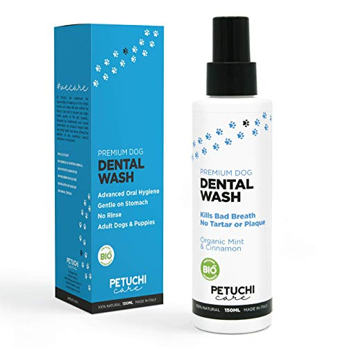 PETUCHI Spray Dentifricio per Cani BIO; Combatte l'Alitosi, Il Tartaro e la Placca; 100% Naturale per Stomaco Sensibile; 150ml