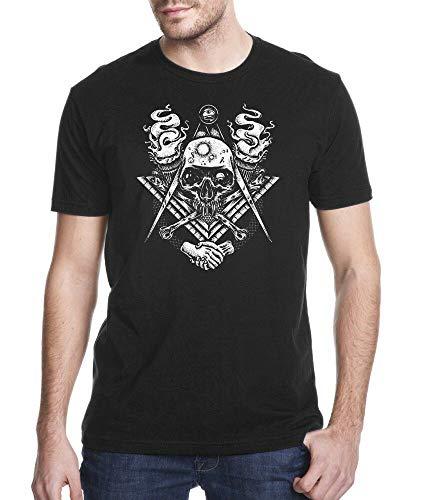 59 T-Shirt Massoneria Massoneria Masoneria Teschio e ossa incrociate Nero 3XL