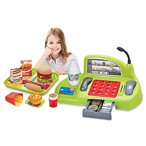 koolbitz® Supermarket Till Kids Cash Register Toy and Burger set for Boys Girls Educational Toy Pretend Play Toys Realistic Play Money Credit Card | Supermarket Till Toy Burger and food Accessories