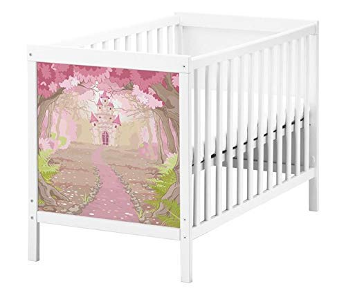 Set Möbelaufkleber für Ikea SUNDVIK Babybett Kinderzimmer Cartoon Schloss rosa Palast Kat2 Baumkrone Wald Blumen Weg SU1Aufkleber Möbelfolie sticker (Ohne Möbel) Folie 25T2634