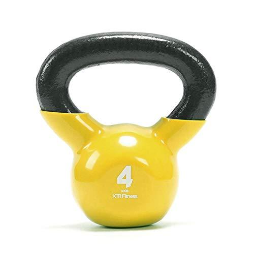 LIUYUE Kettlebell, Einstellbare Kettlebell Fitness-Kesselglocke Kurzhantel-Kniebeuge-Ausrüstung Verschleißfeste Basis Gelb(4 kg / 12 kg)-Gelb_4 kg