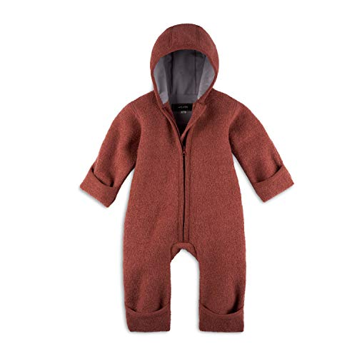 Halfen Walkanzug Baby (100% Made in Germany) - Walk Baby Overall, Babyoverall aus Walkwolle (Bio Natur Schurwolle), Walkoverall mit Kapuze, Farbe: Marone,74/80