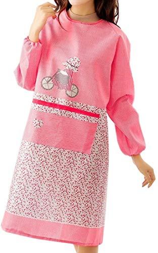 SCRT Schürze Frauen Langarm-Kochen Kleid Home Küche Damen Berufsbekleidung (Size : Red)