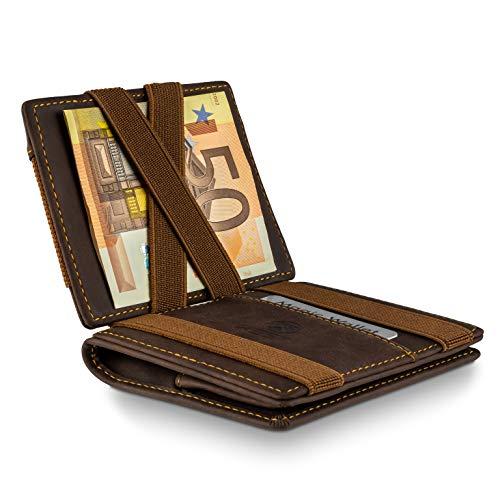 WEST® - Magic Wallet (Klassiker) großes Münzfach - inklusive edler Geschenkbox - Geldbeutel mit Münzfach - Der perfekte Begleiter für unterwegs - RFID Datenschutz (BRAUN-ORANGE)