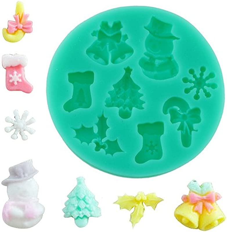 Zsbdb5edvq Baking Mold 3D Christmas Bell Snowflake Chocolate Soap Mold Decor Durable Eco Friendly DIY Ice Cube Tray For Baking Cake Fondant Jelly Green