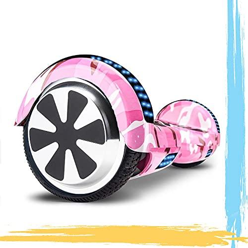 HST 6.5'' Hoverboard Patinetes de Acrobacias Patinete Eléctrico Bluetooth Monopatín Scooter Autobalanceado, Ruedas de Skate con luz LED, Motor Bluetooth de 700W… (Camuflaje Rosa -N)