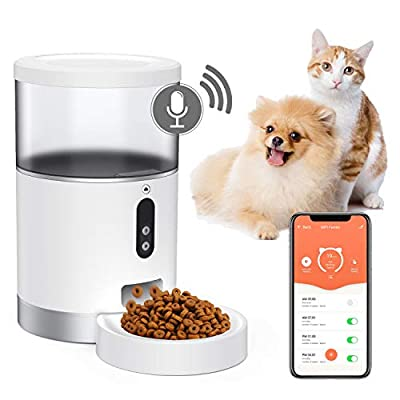 Peteme Automatic Cat Feeder 4L, Smart Pet Feeder Food Dispenser for Cats, Dogs & Small Pets, App Portion Control and Scheduled Feeding, Voice Recorder, Compatible with Alexa, 2.4G Wi-Fi