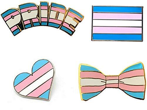 Smartbadge® Transgender-Pride and länglich und Fliege und Herz LGBT Harte Emaille Anstecker