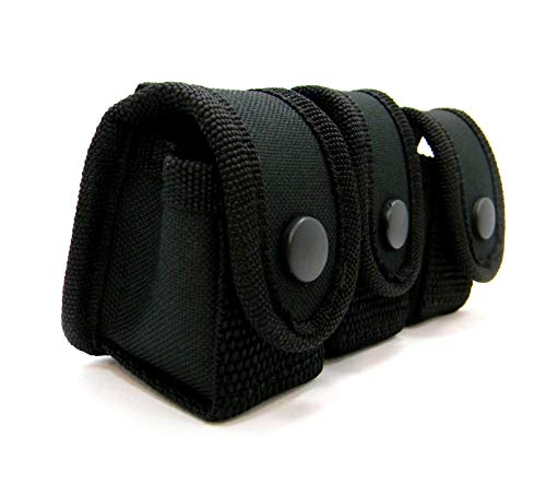 HOLSTERMART USA Tactical Nylon Triple 3 Speedloader Pouch Carrier Holder for 9mm 38 380 357 44 45 Five, Six, and Seven-Shot Revolvers