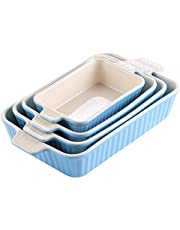 MALACASA, Serie Bake.Bake, Juego de 4 Porcelana Molde Molde Pan Molde Bandeja para Hornear Molde para Horno Forma Plato Plato Hondo en 4 Tamaño Azul