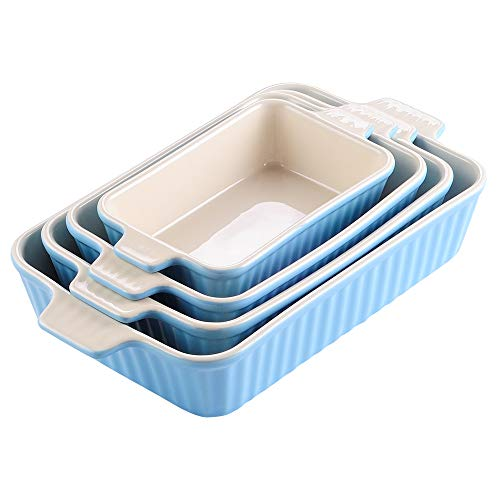 "MALACASA Casserole Dish for Cooking, Ceramic Baking Dish Bakeware Set of 4, Rectangular Baking Pans for Lasagna, Kitchen and Cake Dinner (9.5""/11""/12.5""/14.5""), Blue"