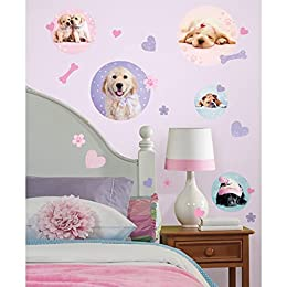 pink and girly dog wall decal stickers for girls bedrooms