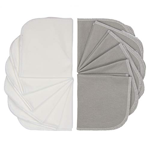Kushies Baby Washcloths 12 Pack, Infant Washcloths, Ultra Soft Cloth Wipes, Bamboo Baby Washcloths in Grey/White, Baby Wash Cloth for Face & Body, Burp Cloths Unisex, Baby Muslin Washcloths Bulk Pack